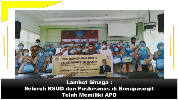 Lamhot Sinaga : Seluruh RSUD dan Puskesmas di Bonapasogit telah memiliki APD